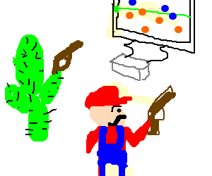 Mario plays lazer tag with cactus.