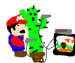 Mario and a cactus playing duck hunt