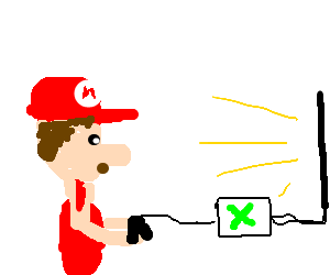 Mario Playing the xbox