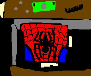 Spiderman's spare folded costume.