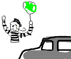 Frenchman with a balloon cheers at a grey car