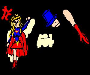 blue hat stickman steals supergirl's leg