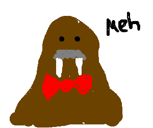 Mr.Walrus is ambivalent about new red bowtie.