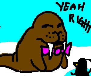 Fancy bowtie walrus is unimpressed