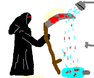 Reaper washes blood of his scythe in the shower