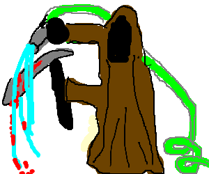 The grim reaper rinses a bloody scythe