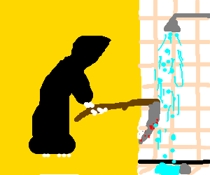 death trying to wash his sickle in the bathroom