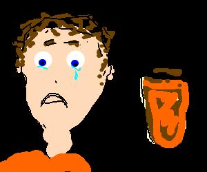 Sad man wants more beer