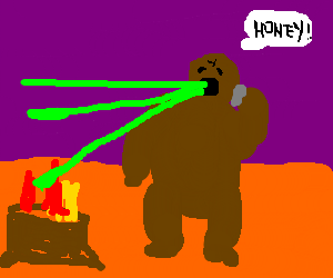 Brown bear puking green lazers, calls his woman
