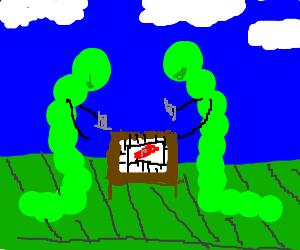 green caterpillars playing monopoly