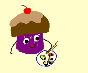 A cupcake eating sushi