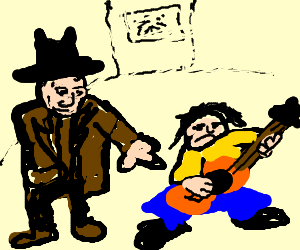 detective finds crouching guitar player