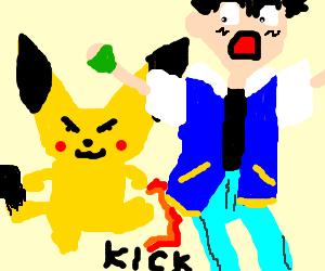 Pikachu kicks Ash