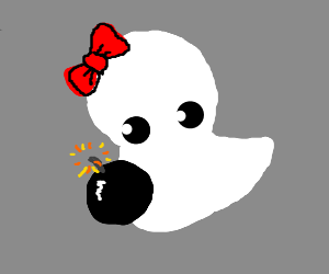 Cute ghost with a bomb