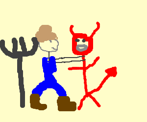 Farmer strangles devil