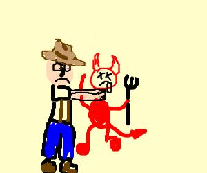 Pioneer settler choking evil red man.