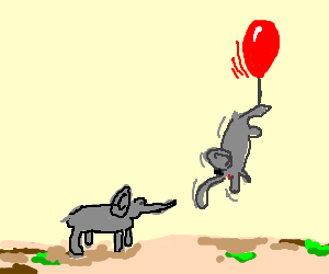 elephant being dragged by a balloon