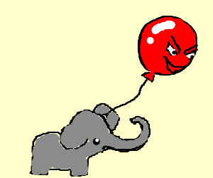 an elephant being kidnapped by a ballon