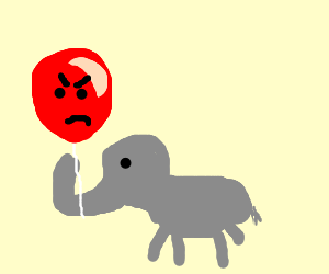 Small elephant holding angry balloon