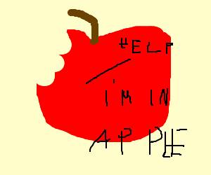 Tiny man in apple cries for attention