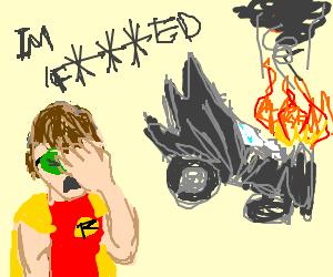 Robin crashes the batmobile