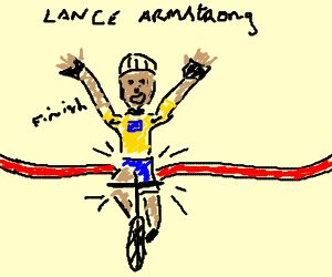 Lance Armstrong crossing the finish line