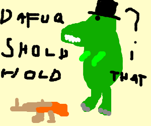 T-Rex with AK-47 and top hat