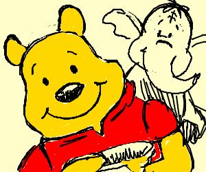 Winnie the Poo and an elephant