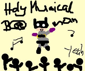 Batman playing at a concert