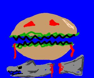 sammich face rips shark fin off shark.