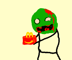 A zombie buys a Happy Meal