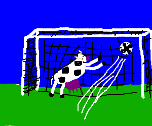 Cow Goalkeeper misses the ball
