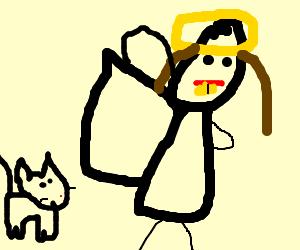 Cat stalks angel with bad yellow teeth