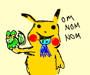 Pikachu eating other pokemon