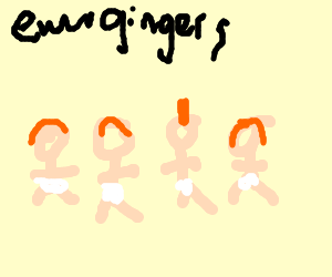 Four ginger babies (one with mohawk)