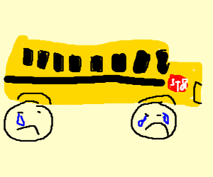 8ed487a9da A yellow bus with crying tires.