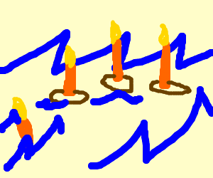 Four candles possibly floating in water