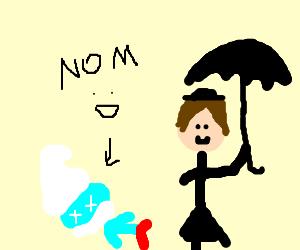 Mary Poppins eats Papa smurf