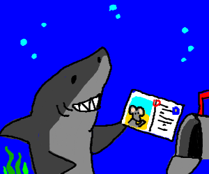Shark has a mouse postcard