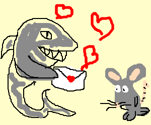 Shark mails Valentine to Mouse