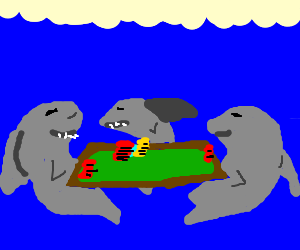 sharks playing poker