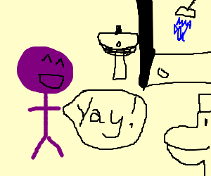 Purple man very excitied about bathroom