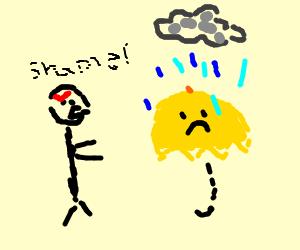 stickman chastises yellow umbrella