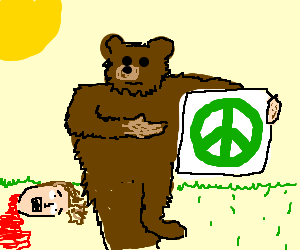 Bear holding a pro-peace sign