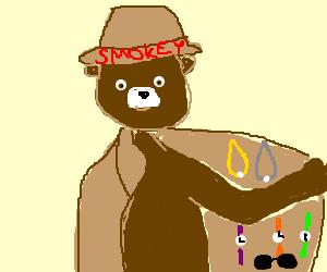 Smokey the Bear sells jewelry from coat