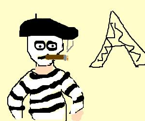 mime in paris smokes a cigar