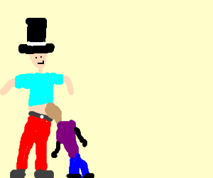 top hat guy gets blowjob from midget