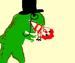 The gentleman dinosaur eats a clown