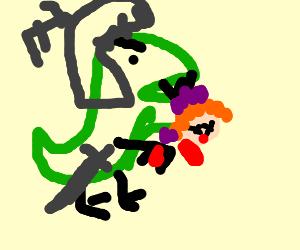 Sir T-Rex eats clown