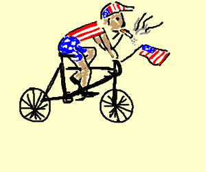 Smoking American cyclist